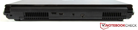 Back: Kensington lock, DisplayPort, HDMI, Mini DisplayPort, power jack